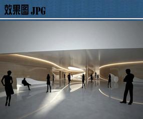 文化中心室内公共空间效果图