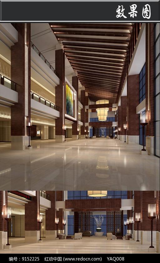 现代简约风办公室东大厅效果图图片