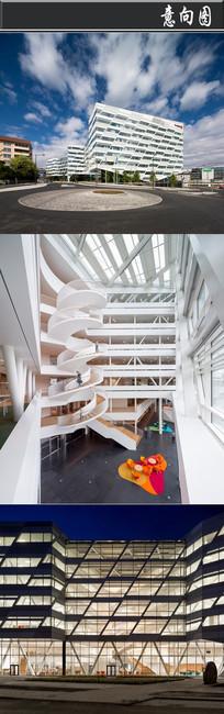 斜面排列窗户创意办公室意向图