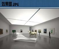 艺术博物馆室内展厅效果图
