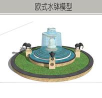 圆形大象雕塑水钵模型 skp