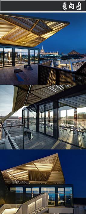 竹子棚顶全透明方格创意建筑