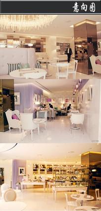 紫色优雅甜品店意向图
