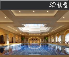阿拉伯风会所泳池3D模型