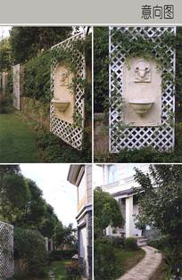 白色网格植物墙