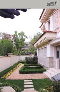 别墅入口花坛设计
