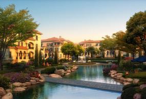 别墅下小区喷泉水景