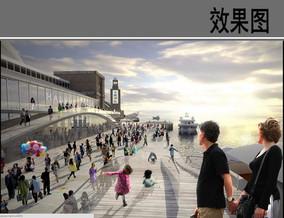 滨海码头景观黄昏效果图