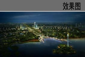 滨水公园中心广场夜景效果图