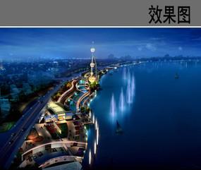 滨水喷泉广场夜景效果图