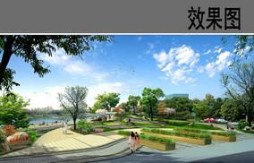 滨水入口广场透视图