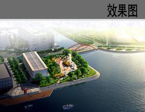 滨水小广场节点鸟瞰图
