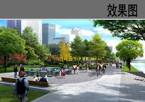 滨水休息广场节点效果图