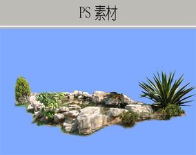 驳岸石块造景PS素材