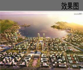 城市滨海中心景观鸟瞰图