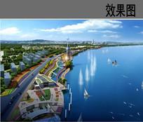 城市滨水公园节点鸟瞰图