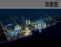城市滨水公园夜景鸟瞰效果图