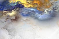 抽象水墨纹理客厅背景墙壁画