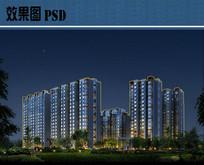 高层住宅建筑夜景效果图PSD PSD