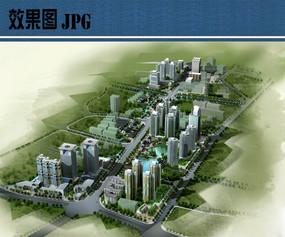 高层住宅景观鸟瞰图