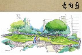 公园景观节点手绘