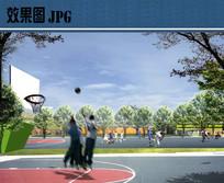 公园篮球场景观效果图