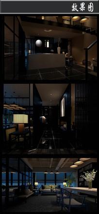 黑色古典风办公室效果图