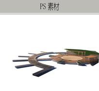 弧形滨水平台PS素材 PSD