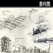 机场大街展览塔楼手绘图