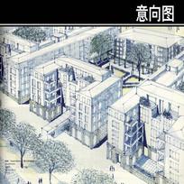 两个住宅建筑手绘图