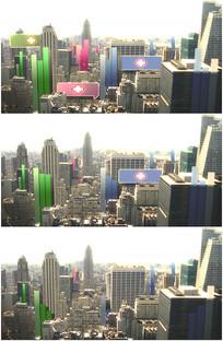 立体城市上空出现医院标志视频