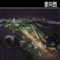 伦茨堡梯田夜景手绘图 JPG