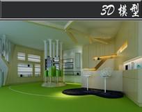 绿色元素理发店3D模型