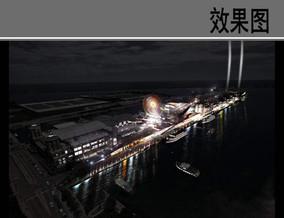 码头夜景效果图