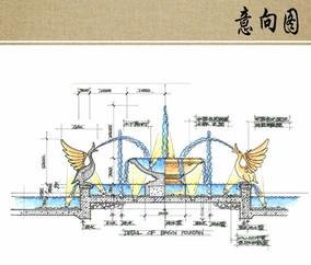 欧式水景喷泉手绘剖面