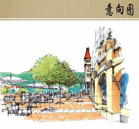 商业街手绘效果图