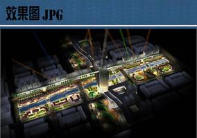 商业景观夜景鸟瞰图