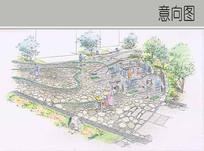 石块铺装场地手绘图