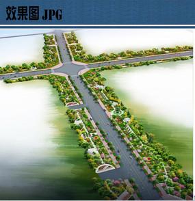 市政道路绿化景观鸟瞰图
