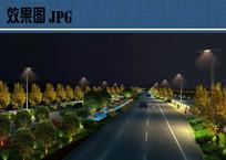 市政道路绿化夜景效果图 JPG