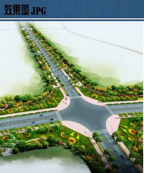 十字路口道路绿化景观鸟瞰图