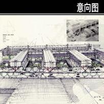 斯图加特机场停车场手绘图