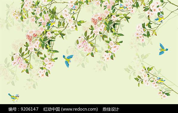 新中式简约手绘花鸟电视背景墙图片