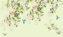 新中式简约手绘花鸟电视背景墙
