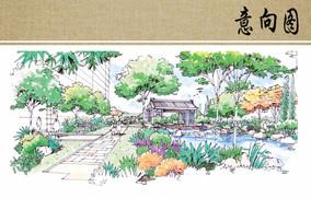 休闲茶室景观手绘效果图