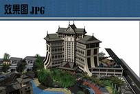 养生度假酒店建筑效果图 JPG