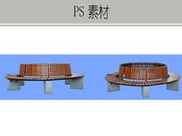 圆形木石坐凳PS素材