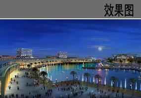 月光湖夜景效果图