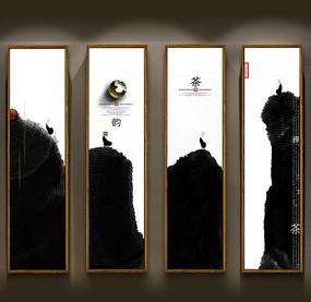 中国风水墨禅茶挂图