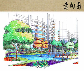住宅区水景景观手绘效果